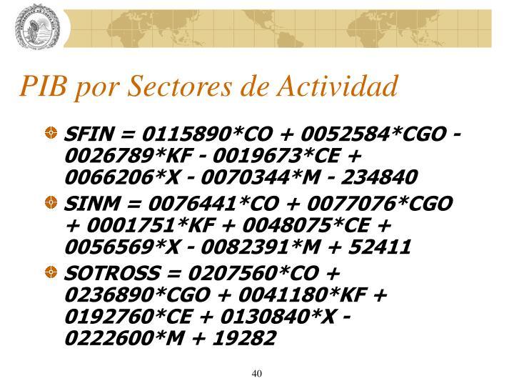 PIB por Sectores de Actividad