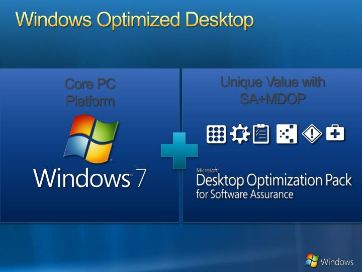 Windows o p timized d e sktop