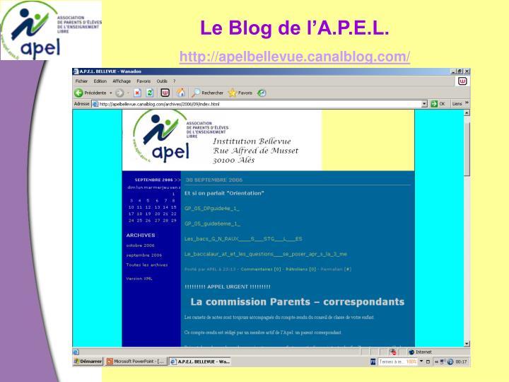 Le Blog de l'A.P.E.L.