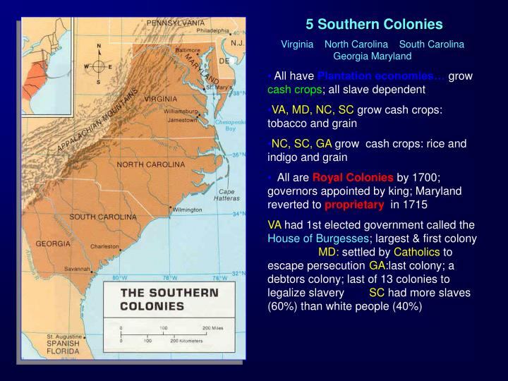 5 Southern Colonies