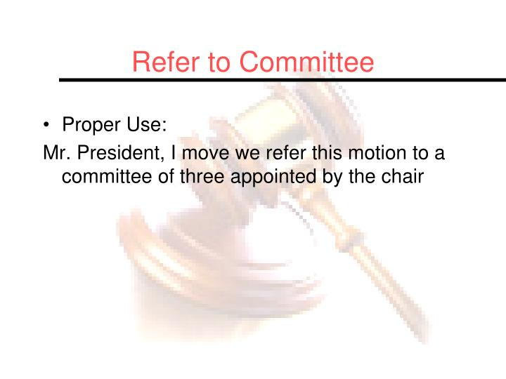 Refer to Committee