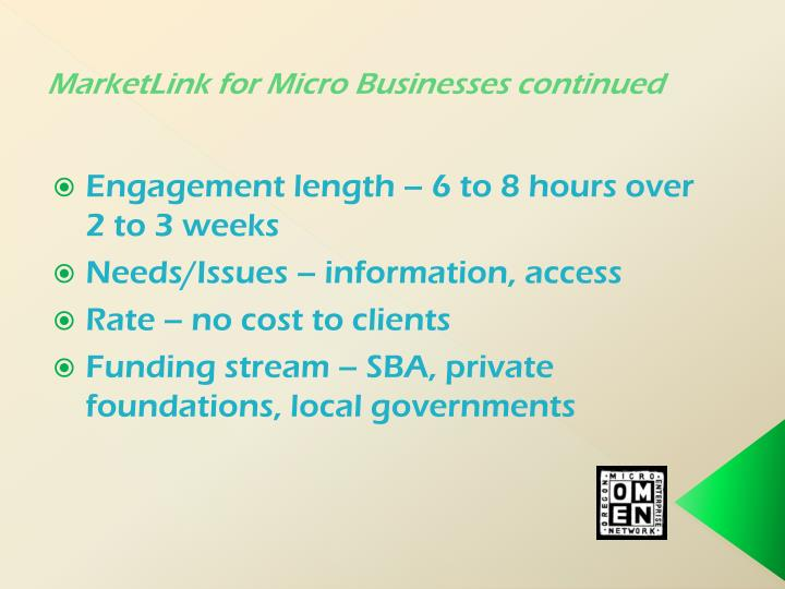 MarketLink for Micro Businesses continued