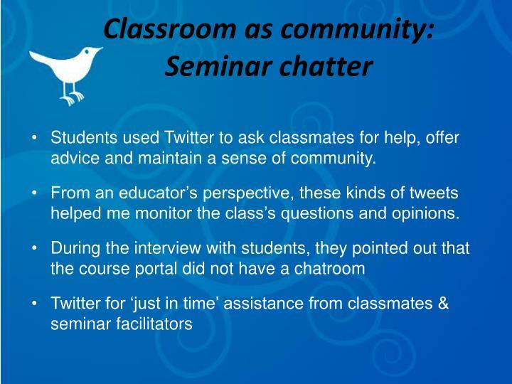 Classroom as community: