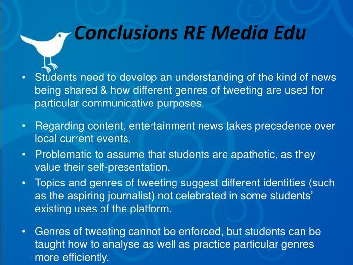 Conclusions RE Media Edu