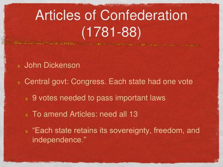Articles of Confederation (1781-88)