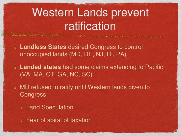 Western Lands prevent ratification