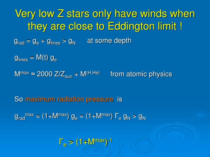 Very low Z stars only have winds when they are close to Eddington limit !