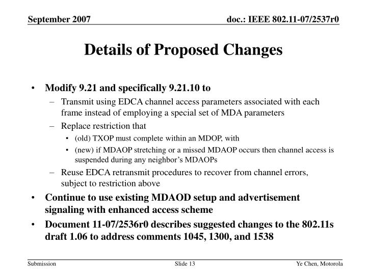 Details of Proposed Changes
