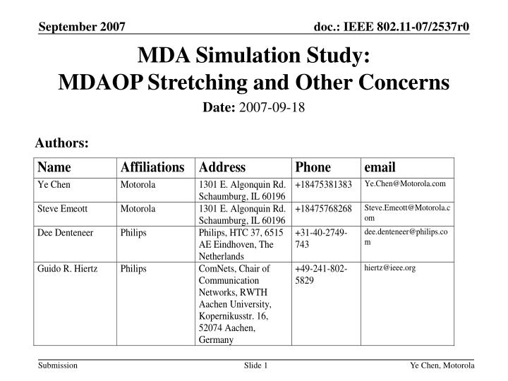 Mda simulation study mdaop stretching and other concerns
