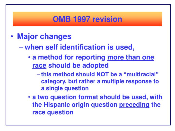 OMB 1997 revision