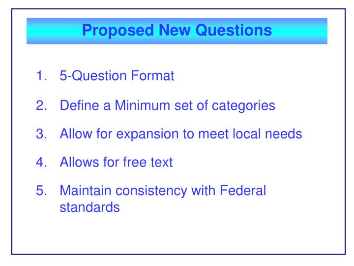 Proposed New Questions