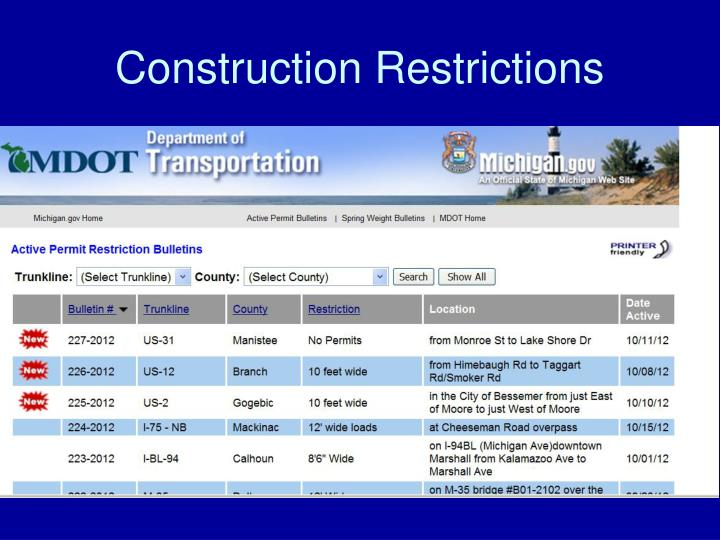 Construction Restrictions