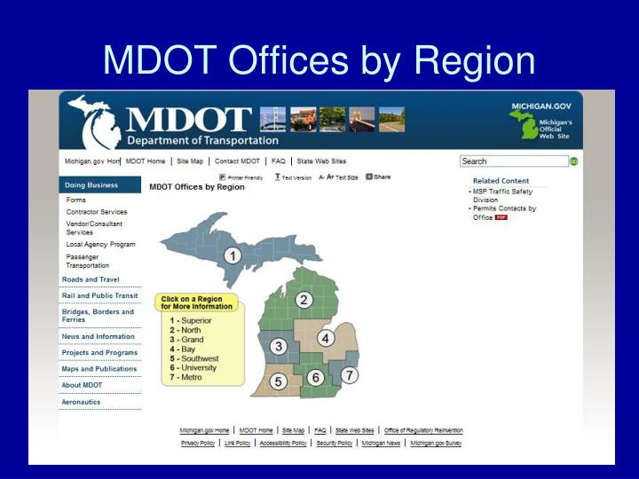 MDOT Offices by Region