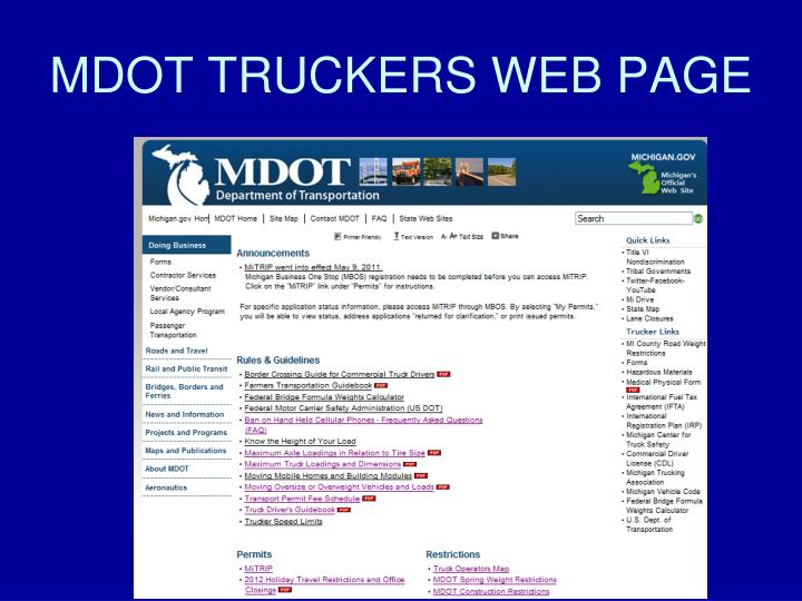 MDOT TRUCKERS WEB PAGE