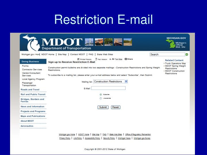 Restriction E-mail