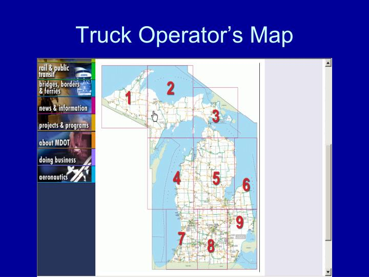 Truck Operator's Map
