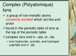 complex polyatomique ions