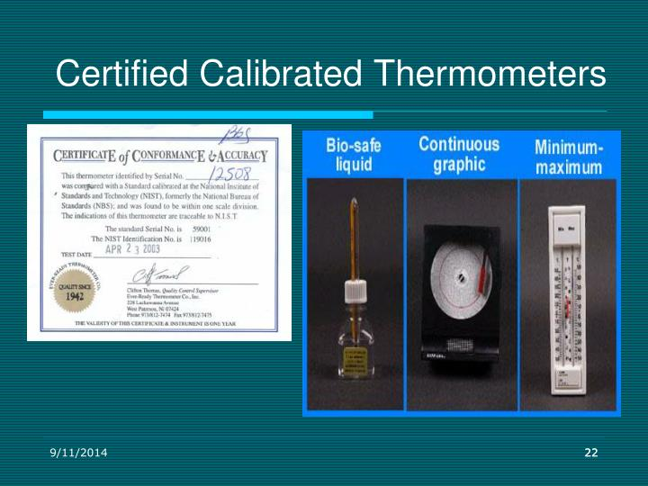 Certified Calibrated Thermometers