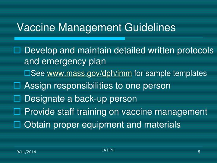 Vaccine Management Guidelines