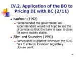 iv 2 application of the bo to pricing di with bc 2 11