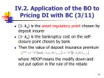 iv 2 application of the bo to pricing di with bc 3 11