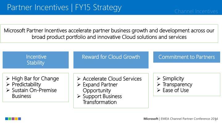Partner Incentives | FY15 Strategy