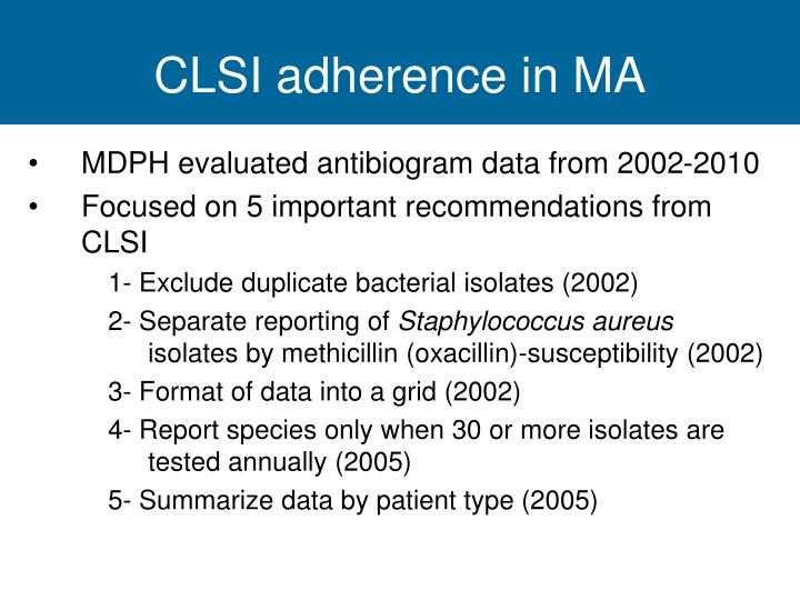 CLSI adherence in MA