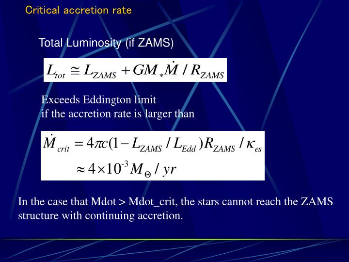 Critical accretion rate