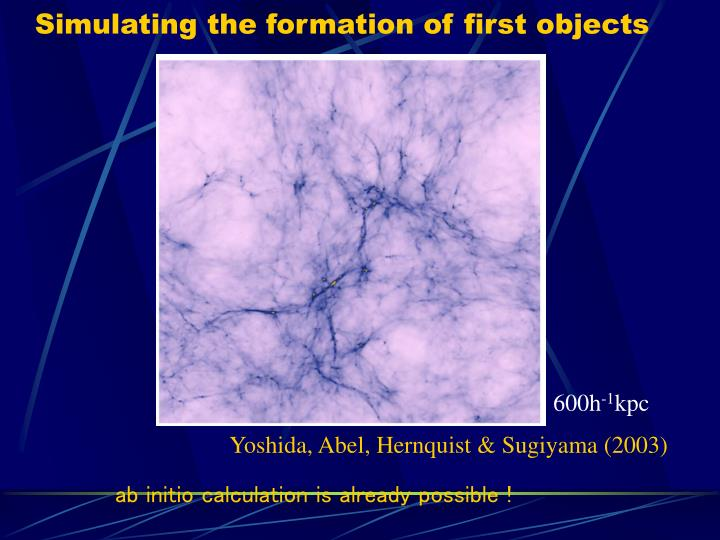 Simulating the formation of first objects