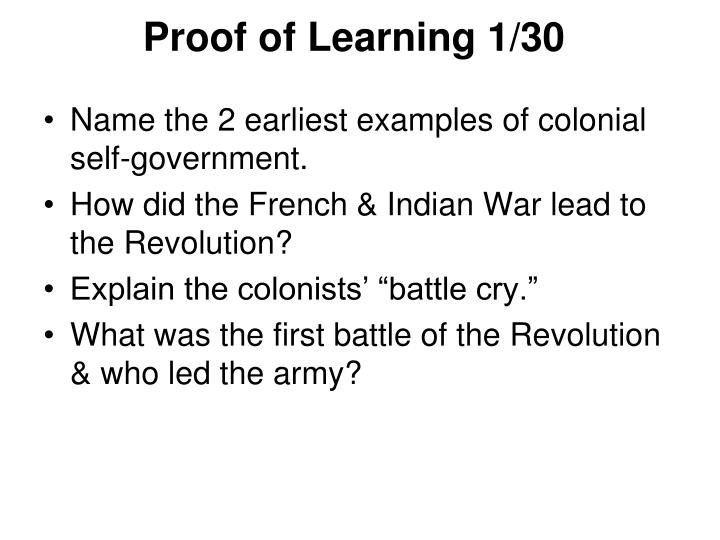 Proof of Learning 1/30