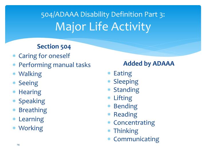 504/ADAAA Disability Definition Part 3: