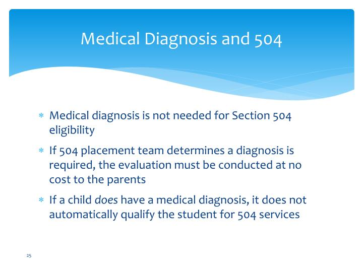 Medical Diagnosis and 504