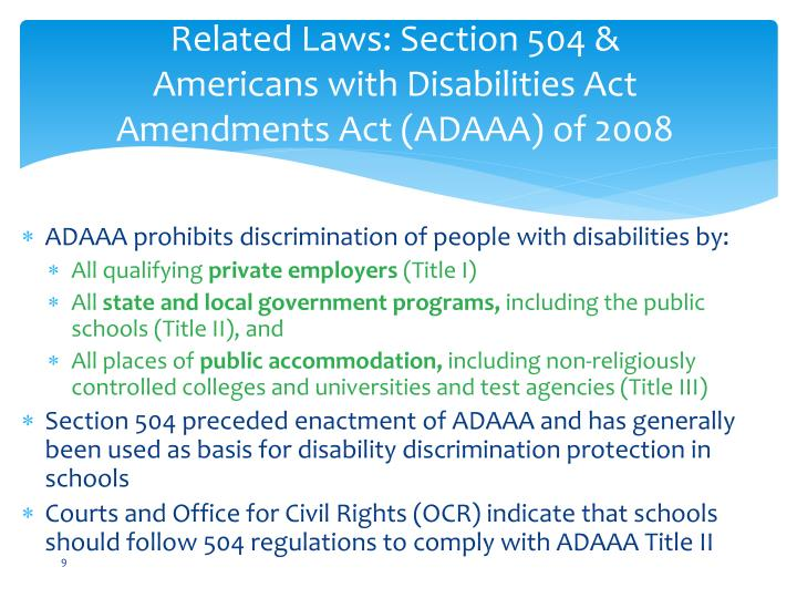 Related Laws: Section 504 &