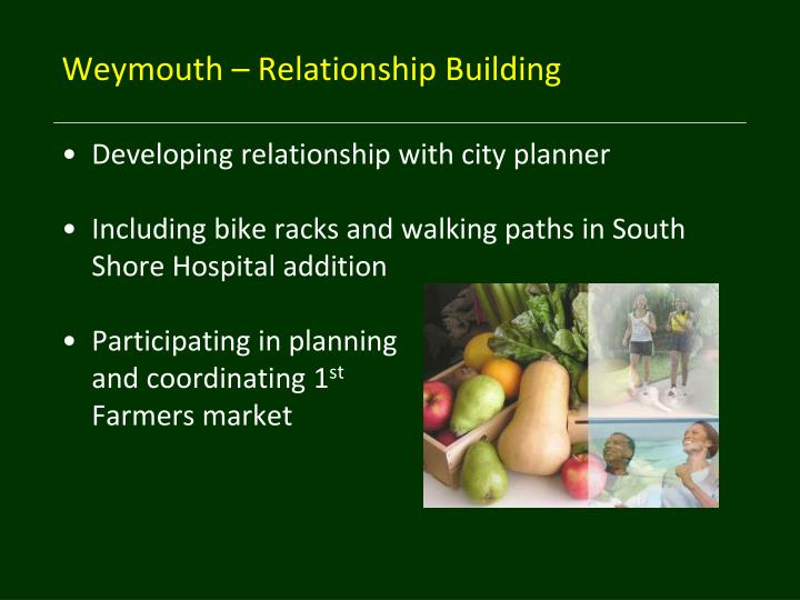 Weymouth – Relationship Building