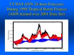 ccnas ann 24 hour forecasts during 1998 tropical storm frances ann trained over 2001 data set