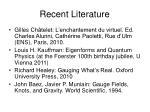 recent literature