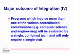 major outcome of integration iv