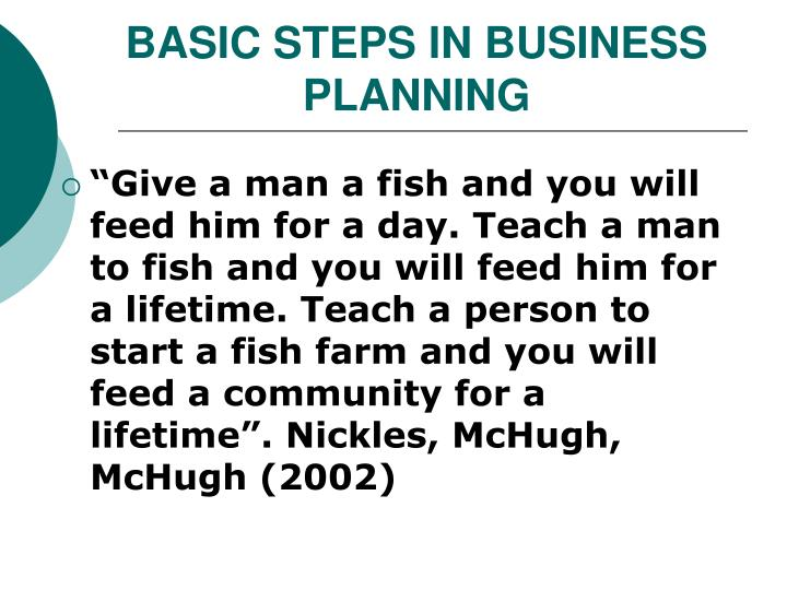 Basic steps in business planning