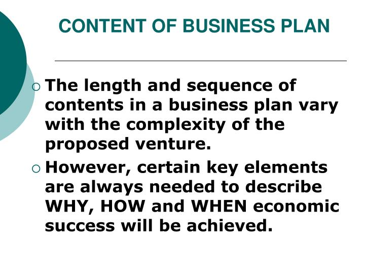 CONTENT OF BUSINESS PLAN