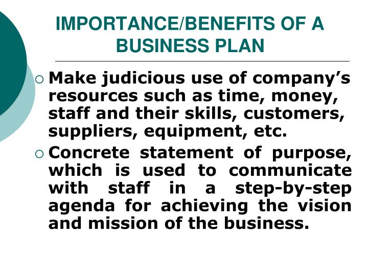 IMPORTANCE/BENEFITS OF A BUSINESS PLAN