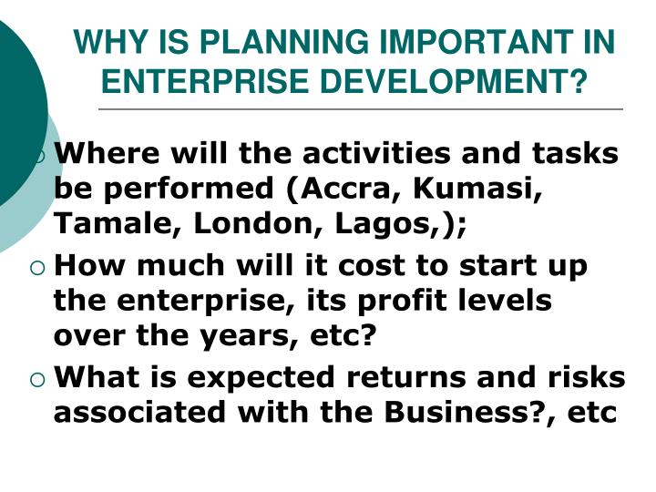 WHY IS PLANNING IMPORTANT IN ENTERPRISE DEVELOPMENT?