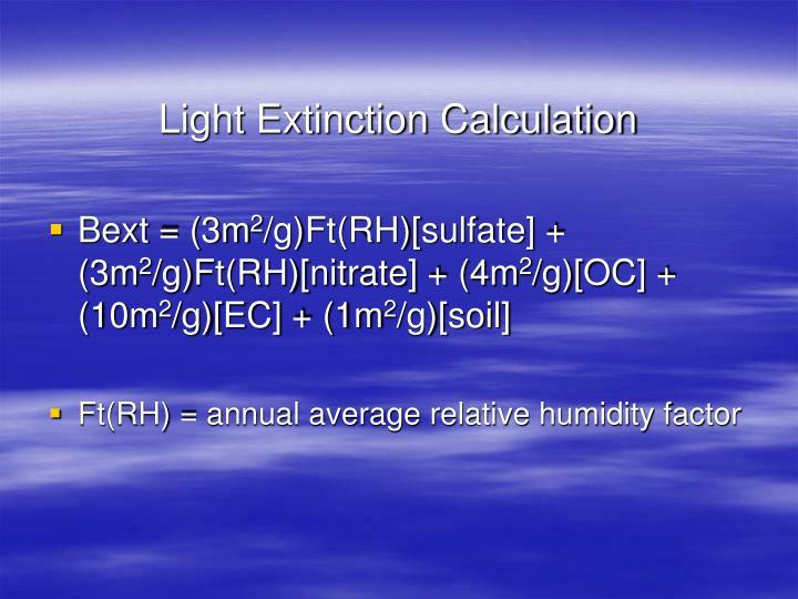 Light Extinction Calculation