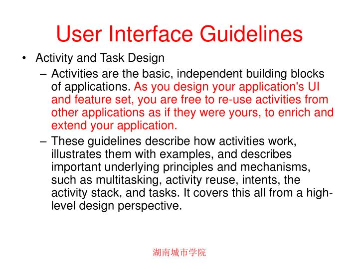 User interface guidelines