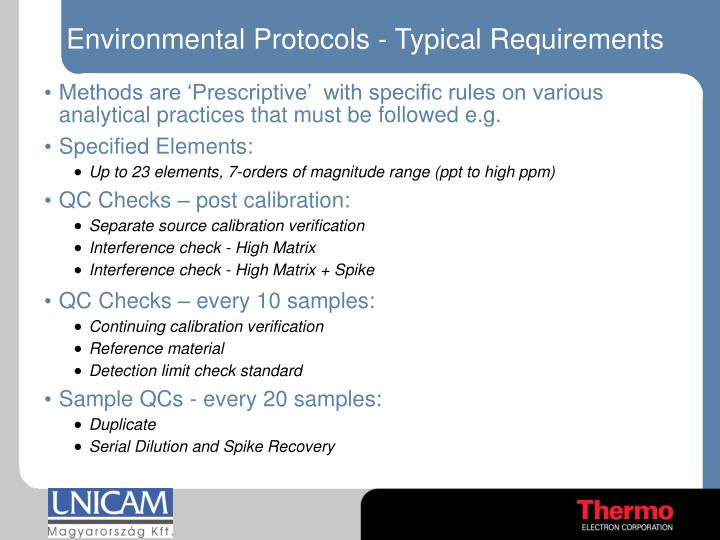 Environmental Protocols - Typical Requirements