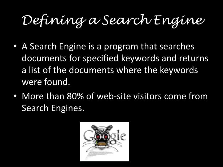 Defining a search engine