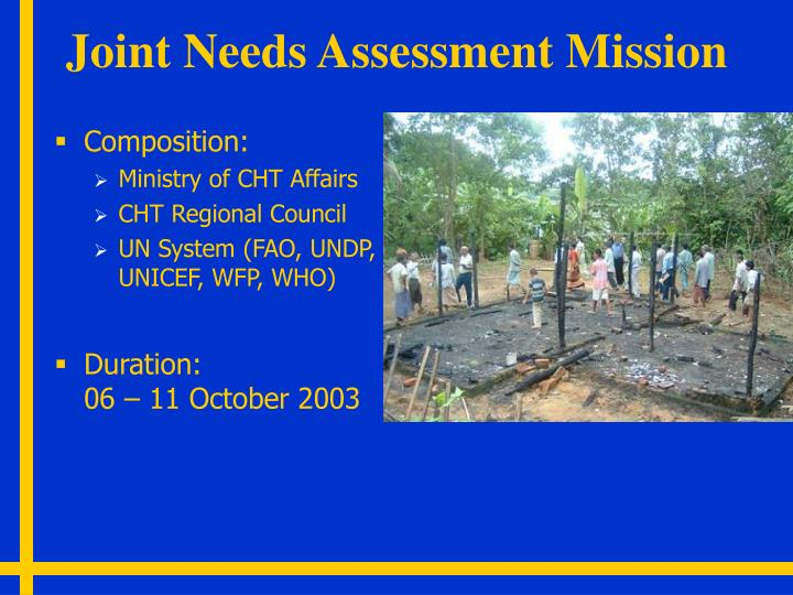 Joint Needs Assessment Mission