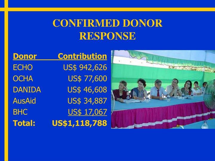 CONFIRMED DONOR RESPONSE