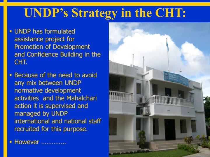UNDP's Strategy in the CHT: