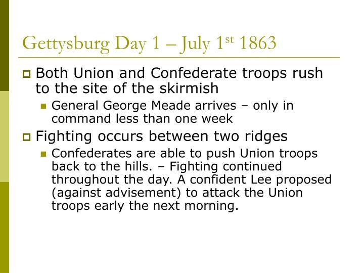 Gettysburg Day 1 – July 1