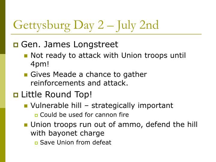 Gettysburg Day 2 – July 2nd